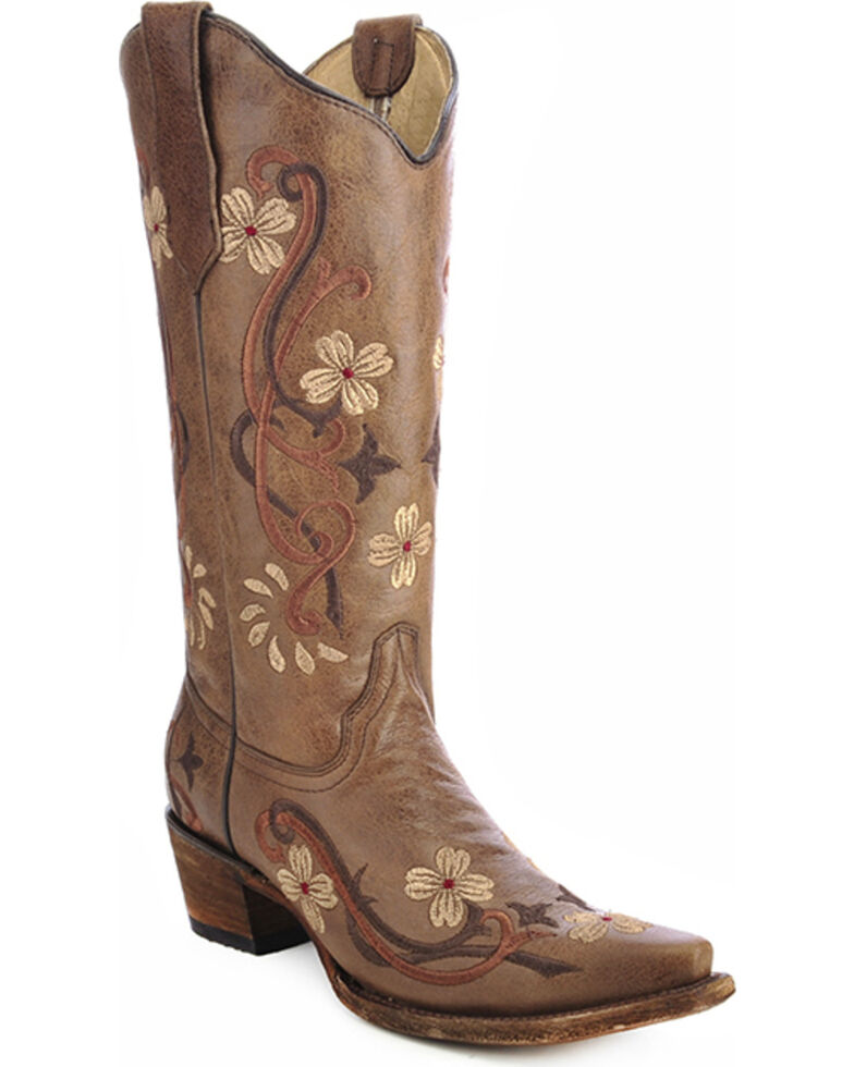 Circle G Women's Floral Embroidered Western Boots, Brown, hi-res