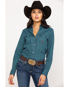 Roper Women's Blue Geo Print Long Sleeve Western Shirt, Blue, hi-res