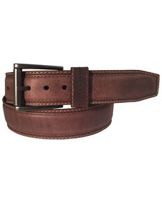 Berne Men's Distressed Brown Leather Belt, Brown, hi-res