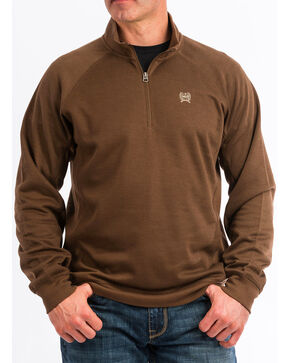 Cinch Men's 1/4 Zip Pullover Sweatshirt, Brown, hi-res