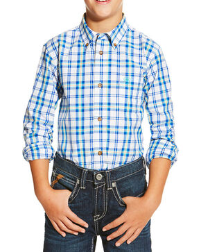 Ariat Boys' Blue Issac Olympian Plaid Long Sleeve Shirt , Blue, hi-res