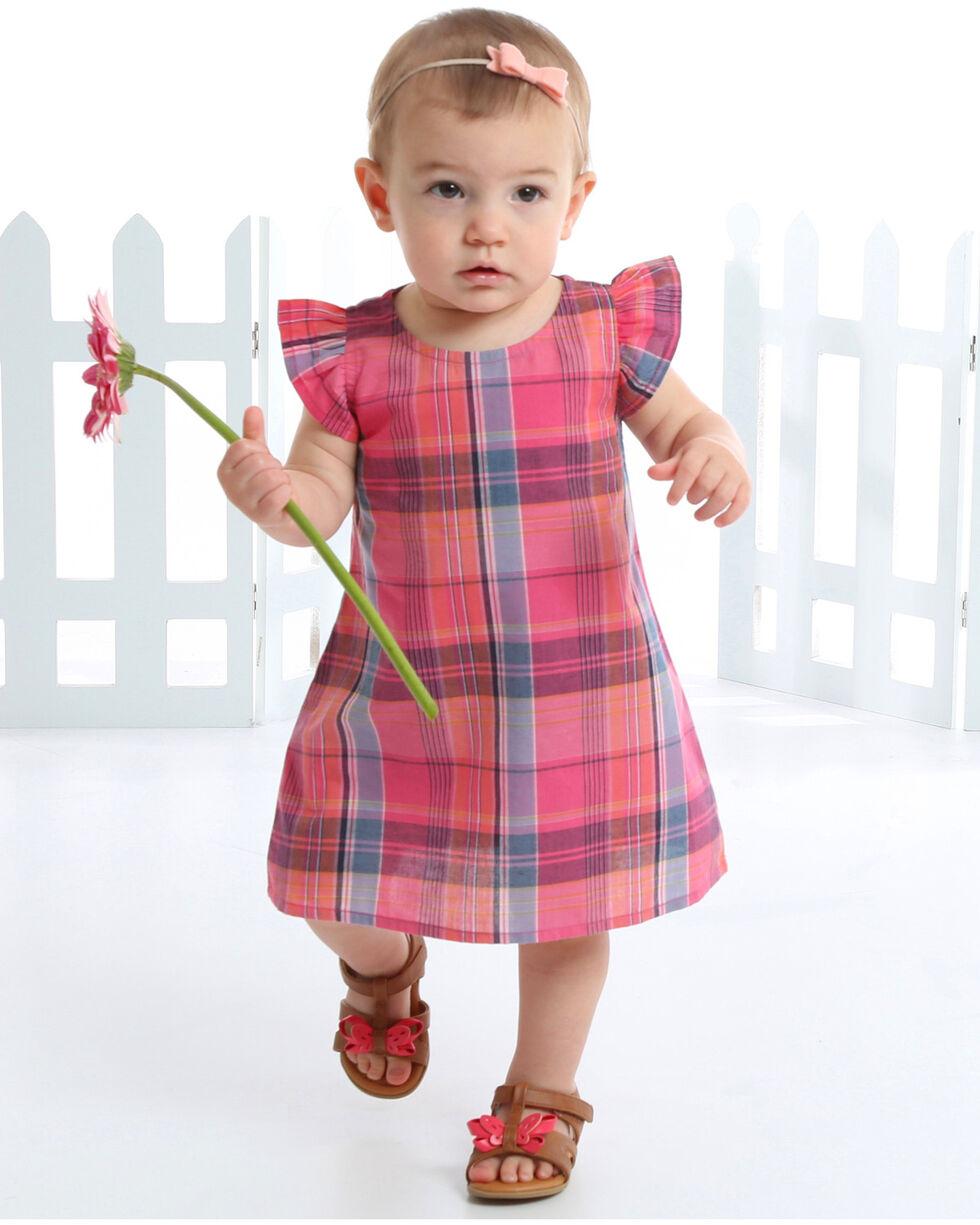 Wrangler Toddler Girls' Plaid Ruffle Cap Sleeve Dress, Pink, hi-res