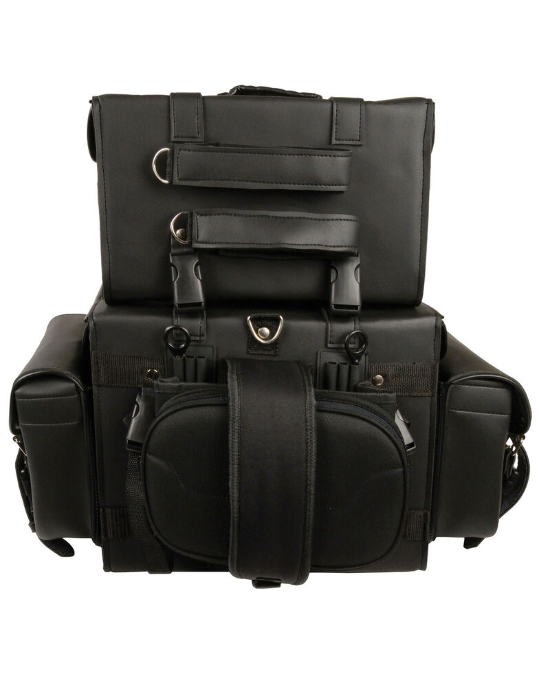 Milwaukee Leather Large Four Piece PVC Touring Pack With Barrel Bag, Black, hi-res