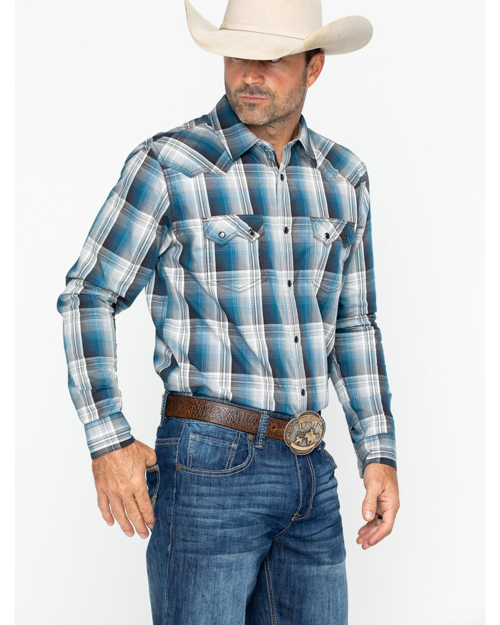Cody James Men's Maderas Snap Long Sleeve Western Shirt, Blue, hi-res