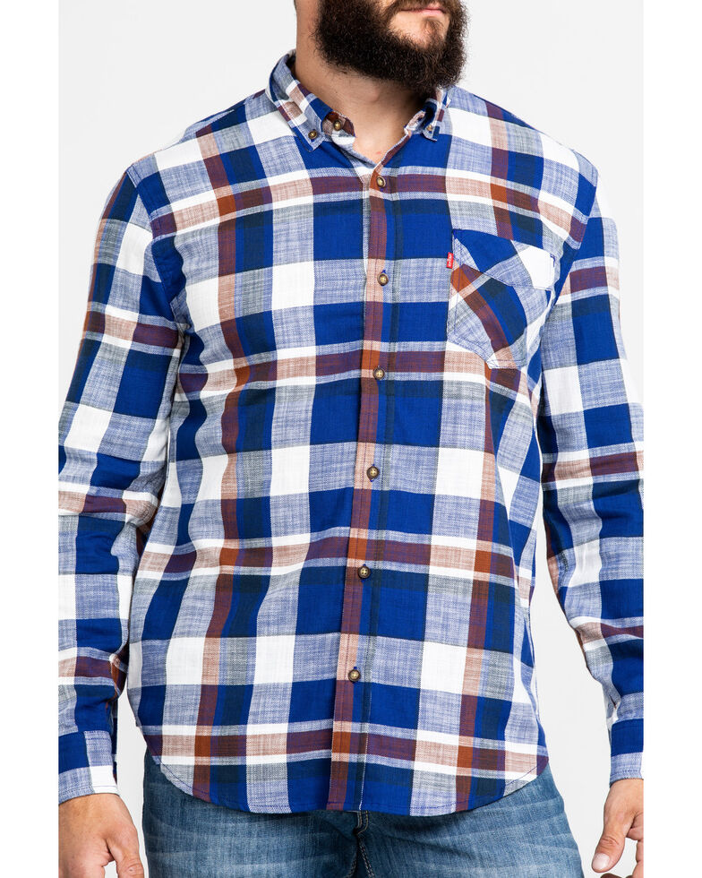 Levis' Men's Bellore Madras Plaid Long Sleeve Western Flannel Shirt , White, hi-res
