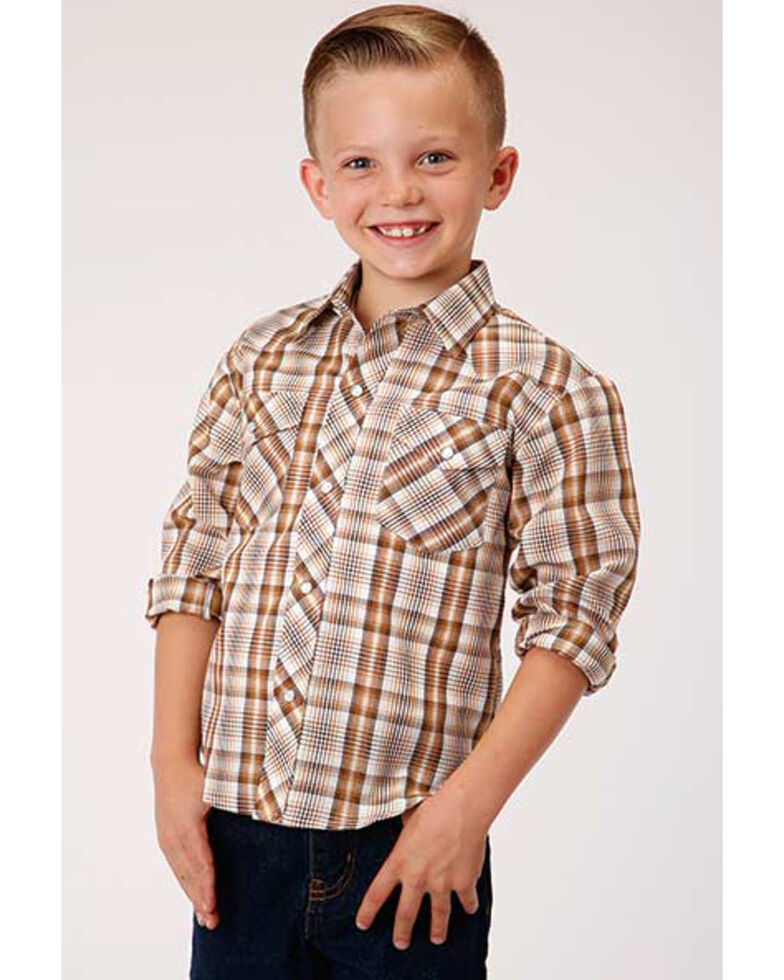 Roper Boys' Classic Brown Plaid Long Sleeve Western Shirt , Brown, hi-res