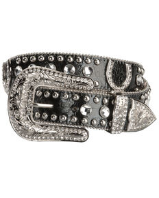 Blazin' Roxx Women's Horseshoe Bling Belt, Black, hi-res