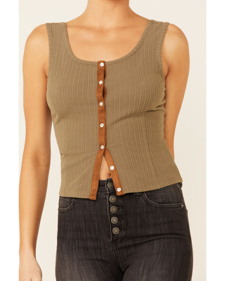 Shyanne Women's Olive Ribbed Suede Placket Button-Down Tank Top , Olive, hi-res