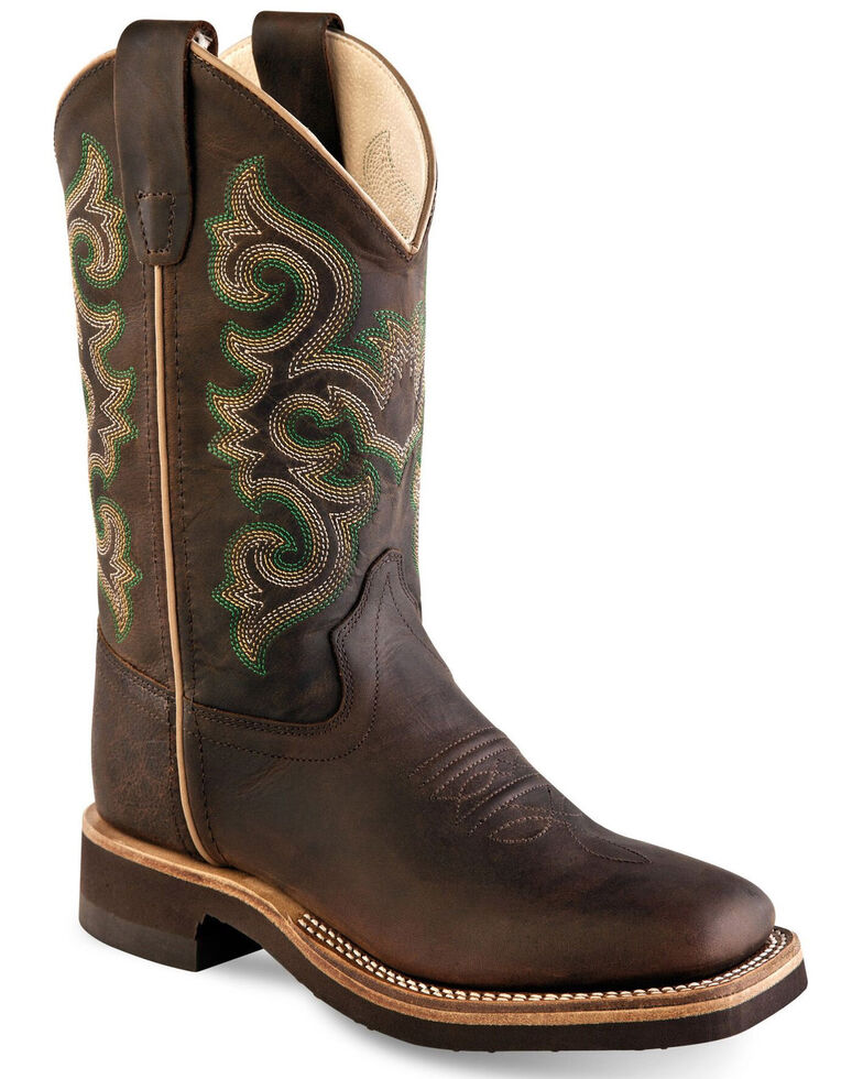 Old West Boys' Shaft Embroidery Western Boots - Wide Square Toe, Brown, hi-res