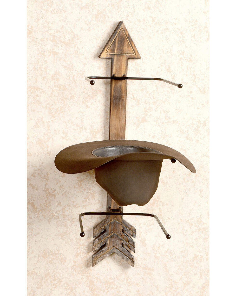 BB Ranch Arrow Wood And Metal Hat Rack, Brown, hi-res