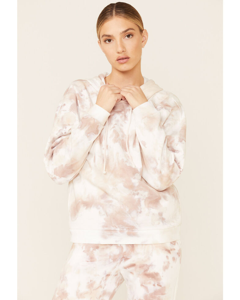 Beyond The Radar Women's Blush Cloud Tie Dye Hooded Sweatshirt , Blush, hi-res