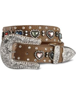 Nocona Belt Co. Kid's Crystal Heart Belt, Brown, hi-res