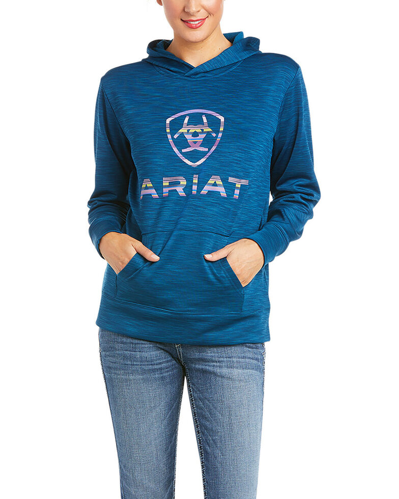 Ariat Women's Blue Opal TEK Logo Hooded Sweatshirt , Blue, hi-res
