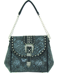 Savana Women's Faux Leather Tooled Handbag , Silver, hi-res