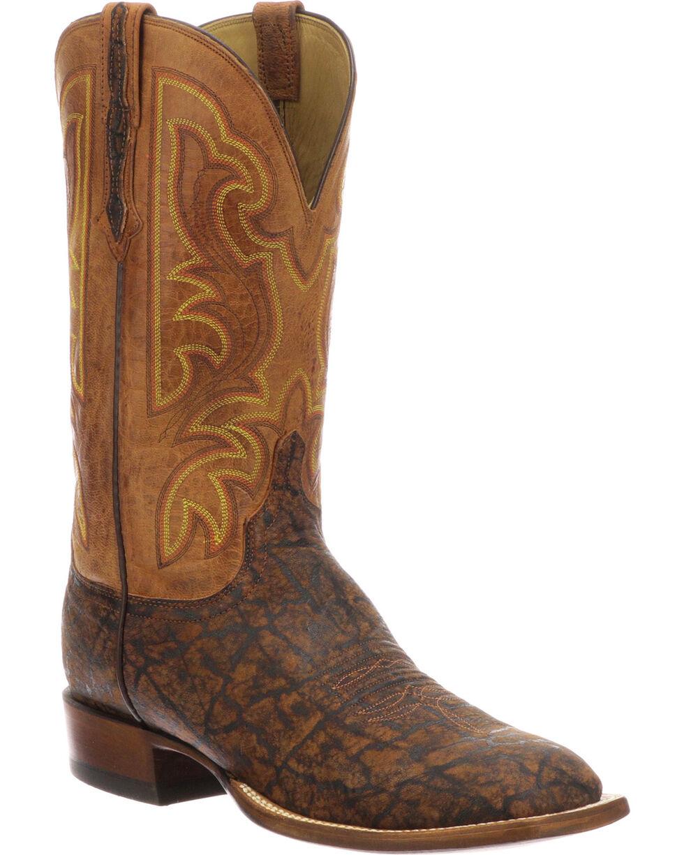Lucchese Men's Handmade Carrington Cognac Elephant Cowboy Boots - Square Toe, , hi-res