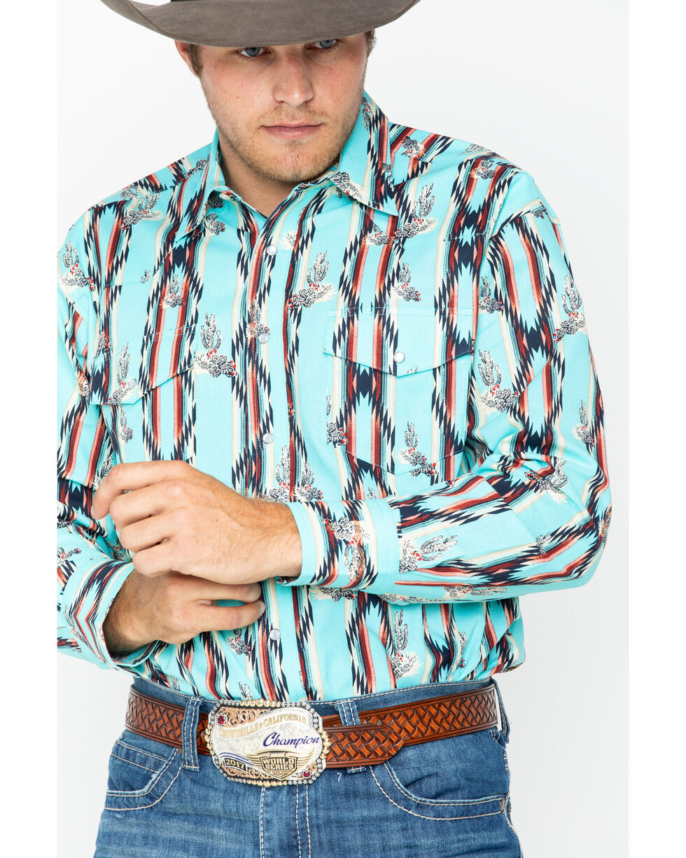 Wrangler Men's Checotah Print Long Sleeve Western Shirt , Aqua, hi-res