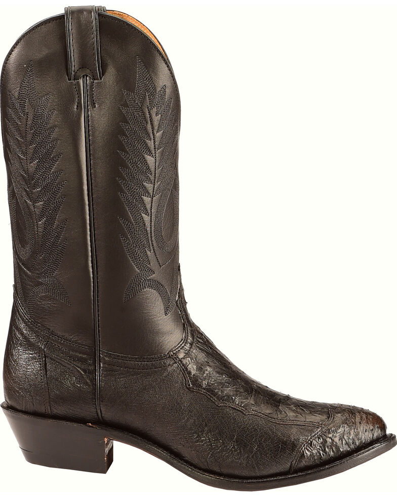 Boulet Men's 4-Piece Smooth Black Ostrich Boots - Medium Toe, Black, hi-res