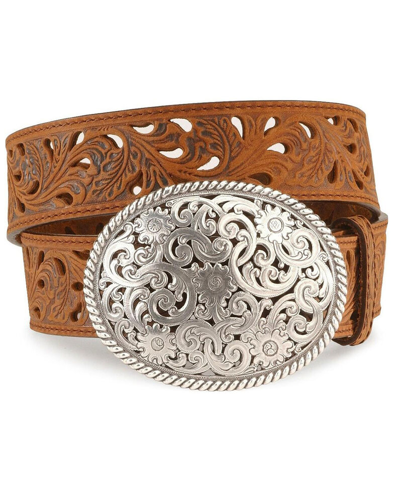 Tony Lama Women's Filigree Belt, Brown, hi-res