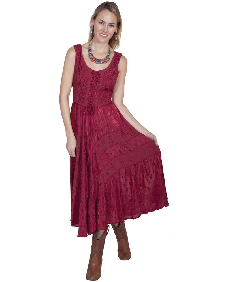 Scully Women's Lace-Up Jacquard Dress, Burgundy, hi-res