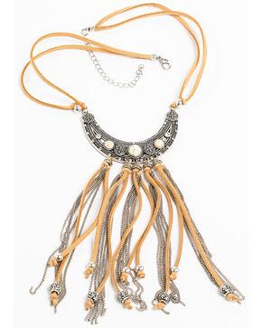 Shyanne Women's White Howlite Suede Fringe Pendant Necklace, Silver, hi-res