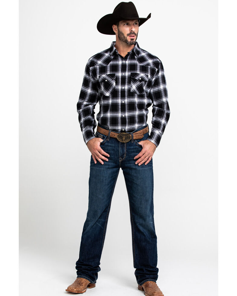Ely Cattleman Men's Black Large Plaid Long Sleeve Western Flannel Shirt , Black, hi-res