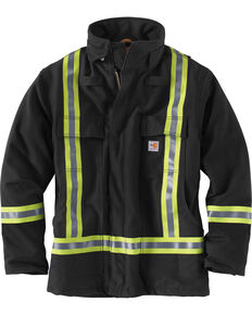 Carhartt Men's Flame-Resistant Striped Duck Traditional Coat - Big & Tall , Black, hi-res