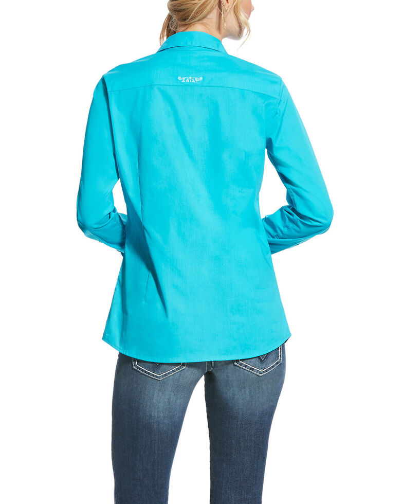 Ariat Women's Kirby Bluebird Stretch Button Down Long Sleeve Shirt , Turquoise, hi-res