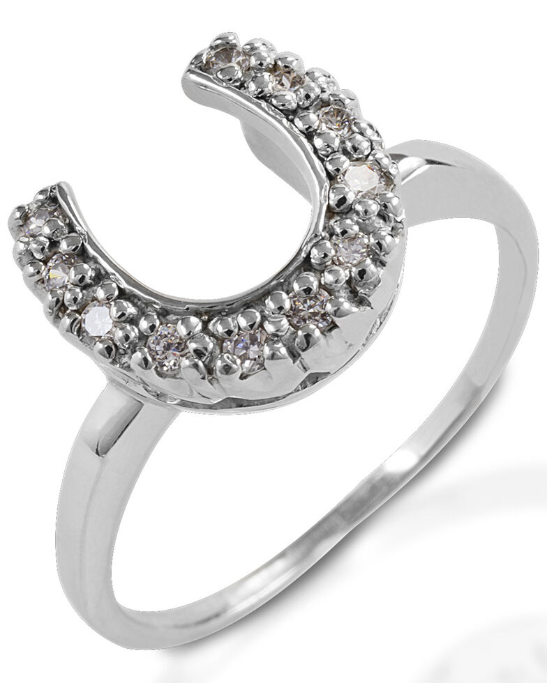 Kelly Herd Women's Horseshoe Ring , Silver, hi-res