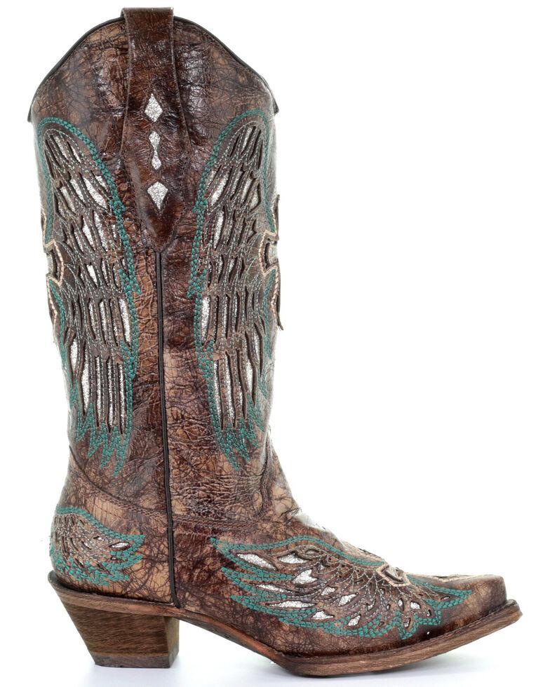 Corral Women's Brown Wings & Cross Western Boots - Snip Toe, Brown, hi-res