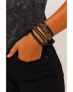 Idyllwind Women's Thunderbird Leather Bracelet, Black, hi-res