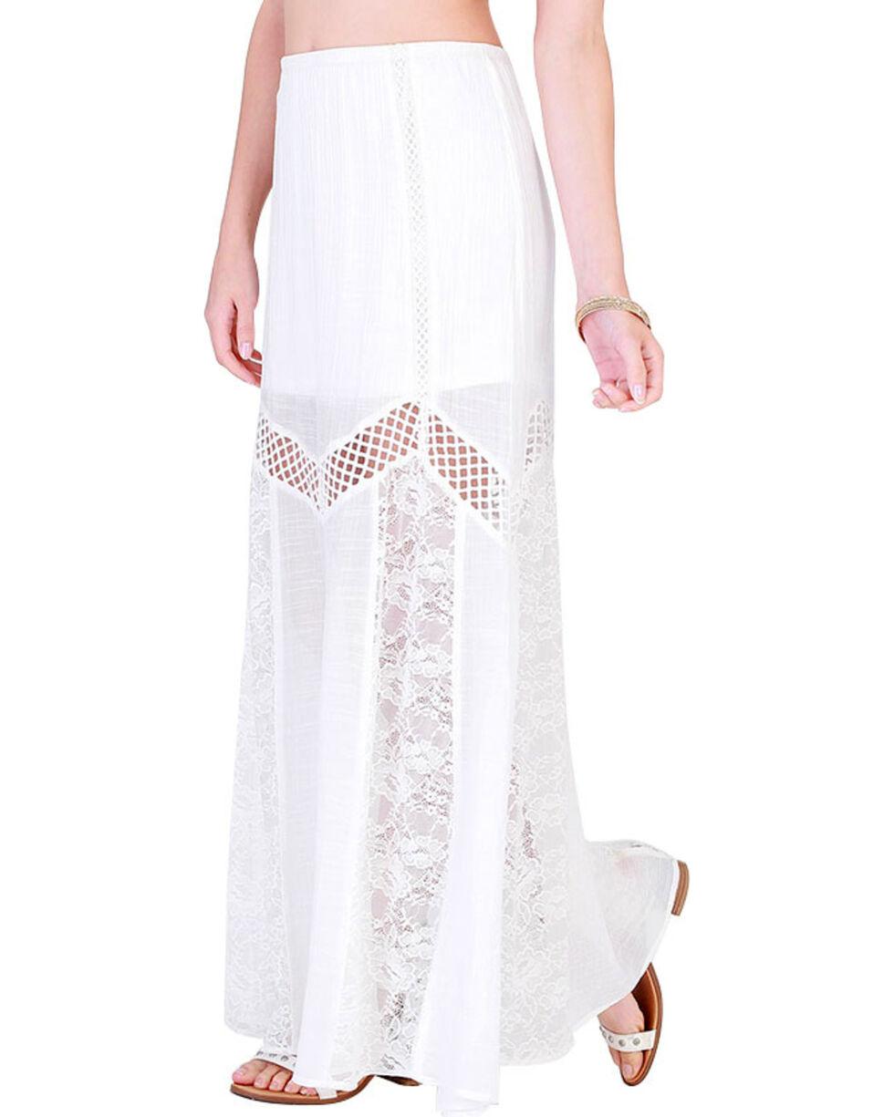 HYFVE Women's White Cutout Maxi Lace Skirt , White, hi-res