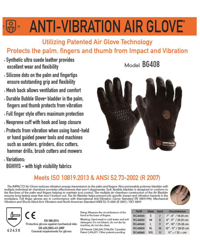 Impacto Anti-Vibration Mechanic's Air Glove - X Large , Black, hi-res