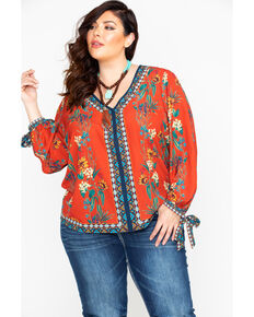 e4a8c0a906521 Flying Tomato Women s Floral V-Neck Banded Cuff Long Sleeve Blouse - Plus