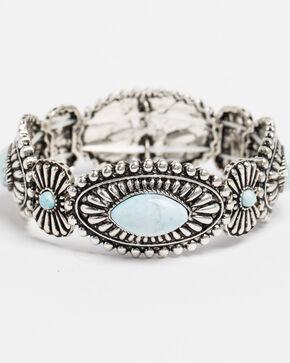 Shyanne Women's Bella Turquoise Concho Stretch Bracelet, Silver, hi-res