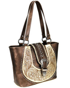 Montana West Women's Bronze Buckle Collection Concealed Carry Tote, Bronze, hi-res