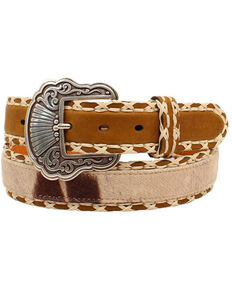 Nocona Women's Cowhide Print Laced Edges Belt, Medium Brown, hi-res