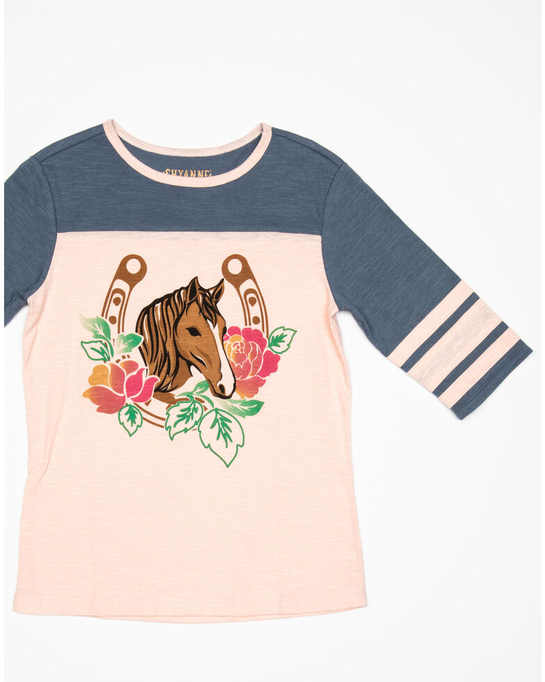Shyanne Girls' Floral Horse Graphic Athletic Tee, Pink, hi-res