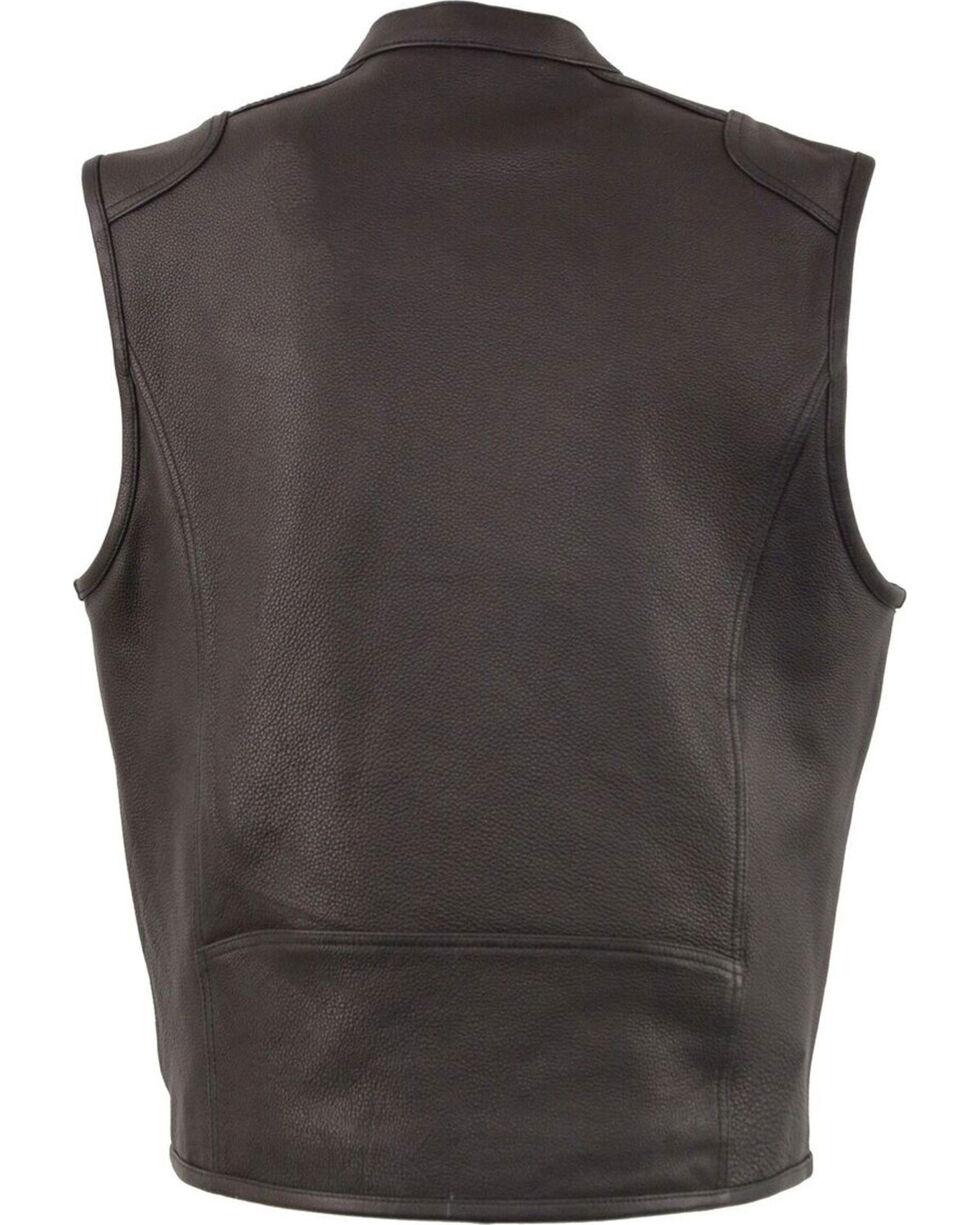 Milwaukee Leather Men's Black Cool Tec Leather Vest - Big 4X , Black, hi-res