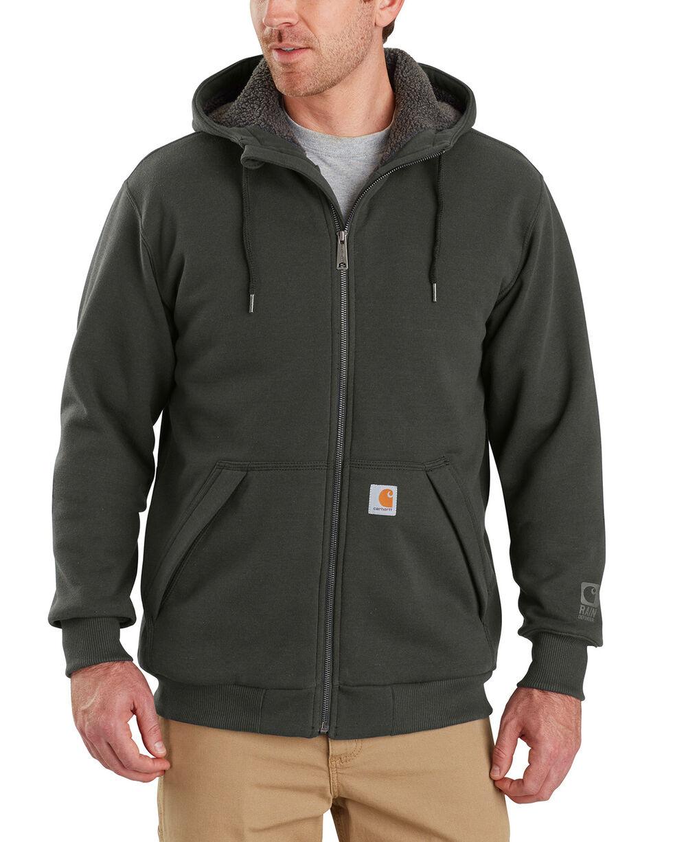 Carhartt Men's Rain Defender Rockland Sherpa-Lined Full-Zip Hoodie, Bark, hi-res