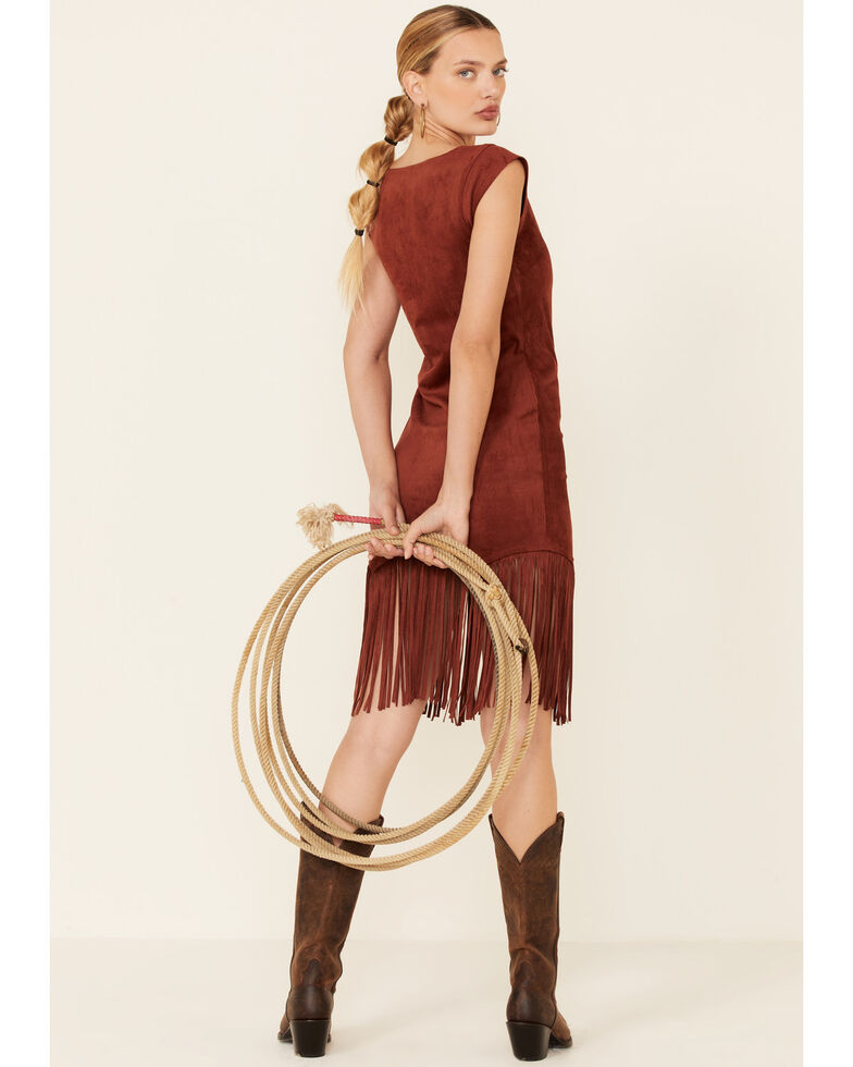 Shyanne Women's Faux Suede Fringe Hem Dress, Rust Copper, hi-res