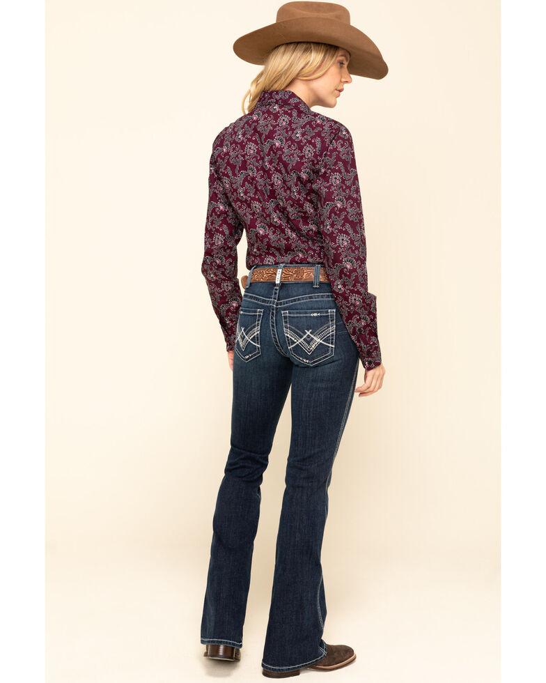 Ariat Women's Dark Wash Glitz Low Rise Bootcut Jeans , Blue, hi-res