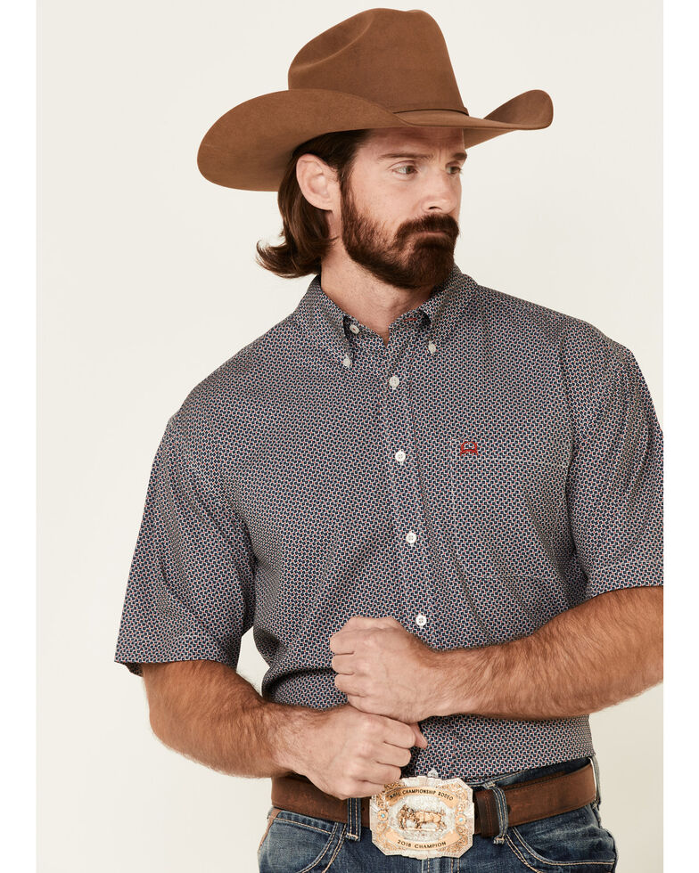 Cinch Men's Arena Flex Navy Geo Print Short Sleeve Button-Down Western Shirt , Navy, hi-res