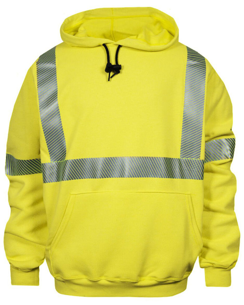 National Safety Apparel Men's Hi-Vis FR VizableType R Class 3 Base Layer Work Sweatshirt - Tall, Bright Yellow, hi-res