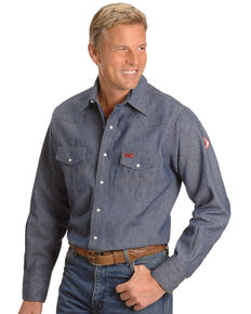 Wrangler Men's Flame Resistant Work Western Shirt, Denim, hi-res
