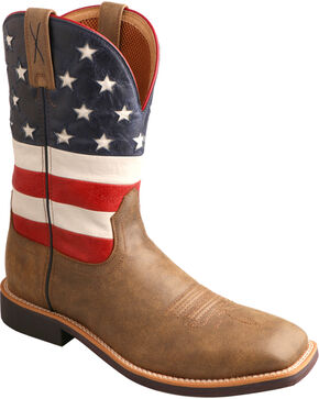 Twisted X Men's VFW American Flag Top Hand Western Boots, Bomber, hi-res
