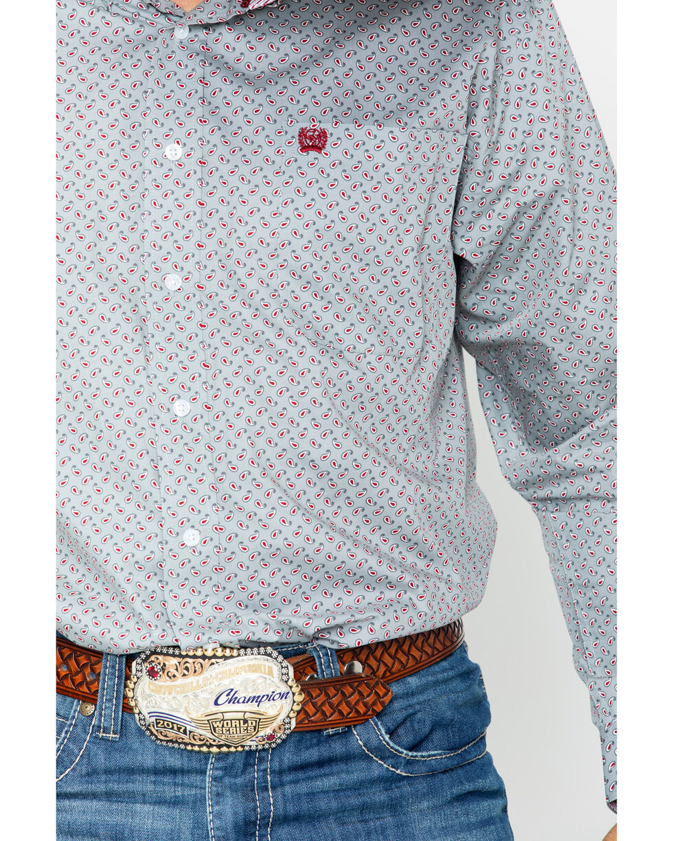 Cinch Men's Grey Paisley Long Sleeve Button Down Shirt, Grey, hi-res