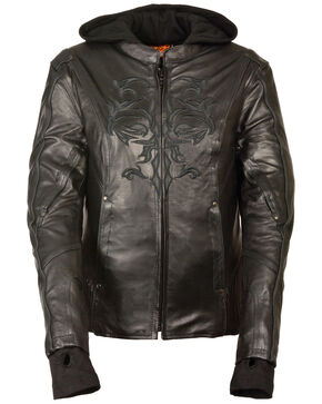 Milwaukee Leather Women's 3/4 Jacket With Reflective Tribal Detail - 5X, Black, hi-res