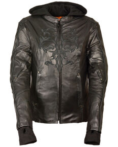 Milwaukee Leather Women's 3/4 Jacket With Reflective Tribal Detail - 4X, Black, hi-res