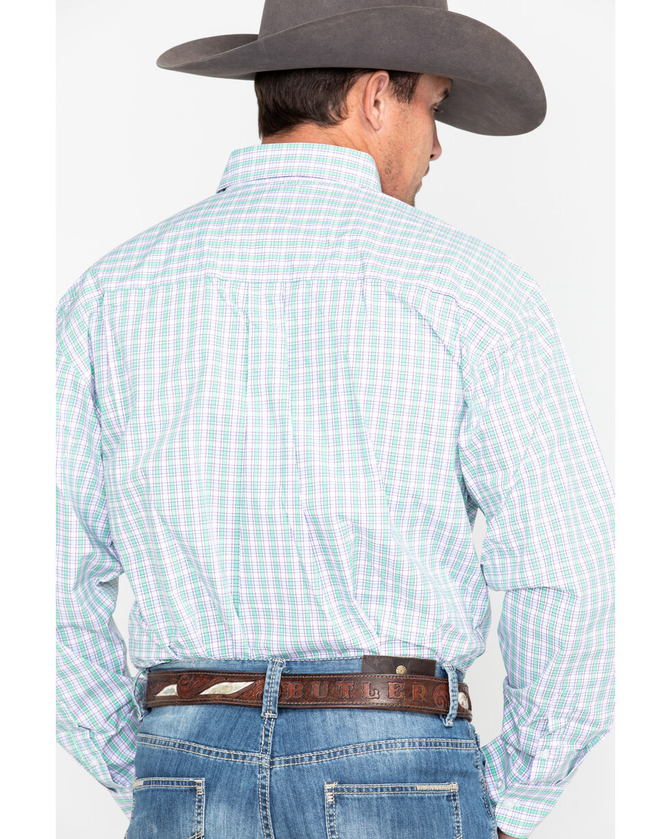George Strait by Wrangler Small Plaid Long Sleeve Western Shirt , Purple, hi-res