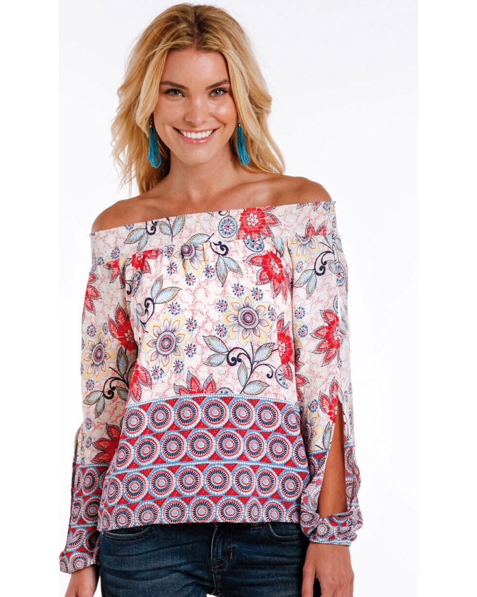 Panhandle Women's Floral Off the Shoulder Long Sleeve Top, Natural, hi-res